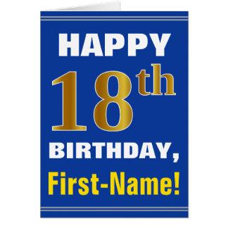 Cartão Corajoso, azul, aniversário do ouro do falso 18o