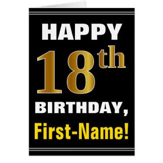 Cartão Corajoso, preto, aniversário do ouro do falso 18o