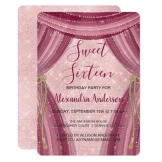 Cartão Coram aniversário do doce dezesseis do rosa e de