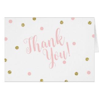 Cartão Coram o rosa e o obrigado do brilho do ouro você