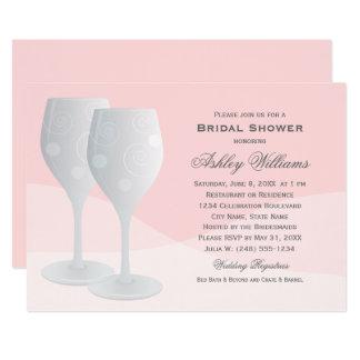 Cartão Coram os vidros de vinho dos elogios do chá de
