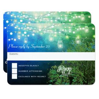 Cartão Corda azul do frasco de pedreiro da floresta das
