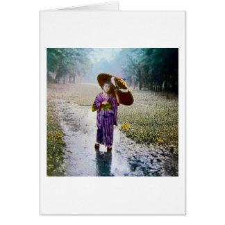 Cartão Corrediça de lanterna mágica de vidro uma MENINA