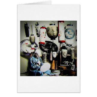 Cartão Corrediça de lanterna mágica o pintor Japão velho