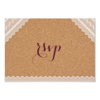Cartão Cortiça do vinho do laço do vintage que Wedding