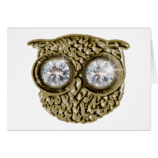 Cartão Coruja com olhos do diamante