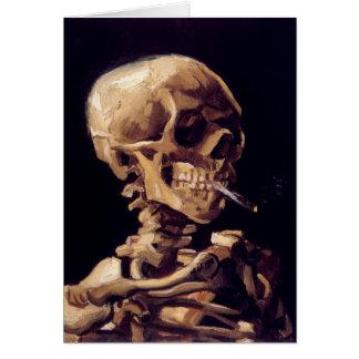 Cartão Crânio de Van Gogh com cigarro ardente