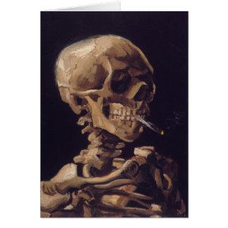 Cartão Crânio de Vincent van Gogh com um cigarro ardente