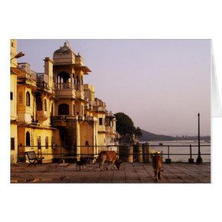 Cartão Crepúsculo em Ganghaur Ghat, Udaipur, Rajasthan,