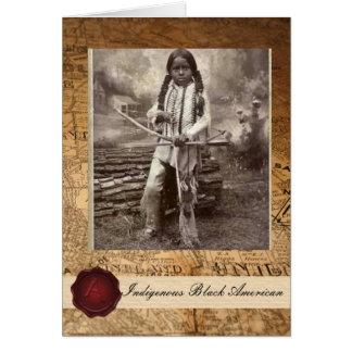 Cartão Criança indiana americana preta nativa