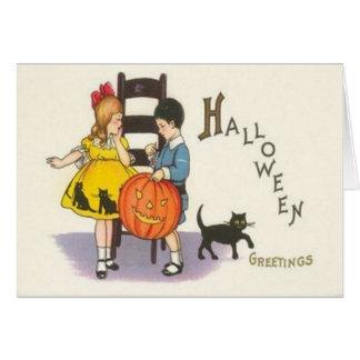 Cartão Crianças do gato preto da lanterna de Jack O