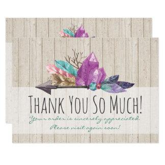 Cartão Cristais & madeira boémios rústicos da aguarela da