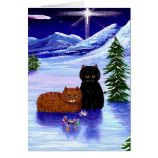 Cartão Cristão do rato do gato do feriado do Natal