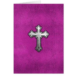 Cartão Cruz do metal no couro cor-de-rosa