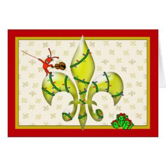 Cartão Cumprimento bonito do Natal da flor de lis dos