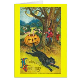 Cartão Cumprimento do Dia das Bruxas do gato Susto-Dy