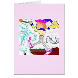 Cartão Cumprimento do tolo de Tarot (fundo cor-de-rosa)