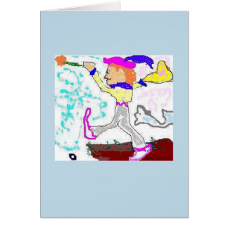 Cartão Cumprimento do tolo de Tarot (fundo da pervinca)