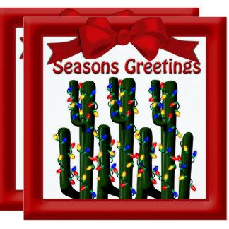 Cartão Cumprimento liso da árvore do cacto de Natal do