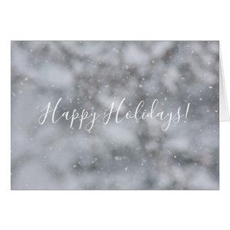 Cartão Cumprimento nevado dos flocos de neve do inverno