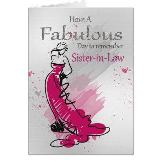 Cartão Cunhada, cumprimento do aniversário com fêmea