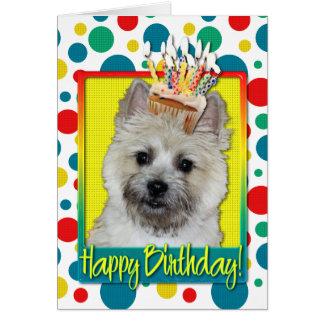 Cartão Cupcake do aniversário - monte de pedras Terrier -