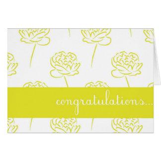 Cartão customizável dos parabéns da peônia amarela