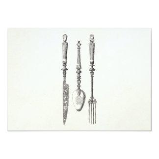 Cartão Cutelaria velha das facas da colher da forquilha