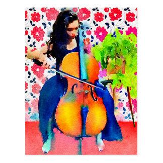 Cartão da aguarela do violoncelista