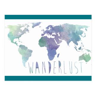 Cartão da aguarela do Wanderlust Cartão Postal