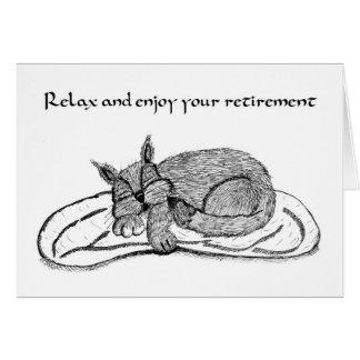Cartão da aposentadoria com gato do sono