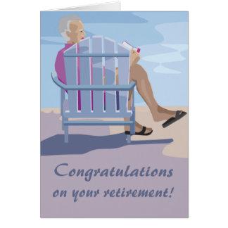 Cartão da aposentadoria da cadeira de praia
