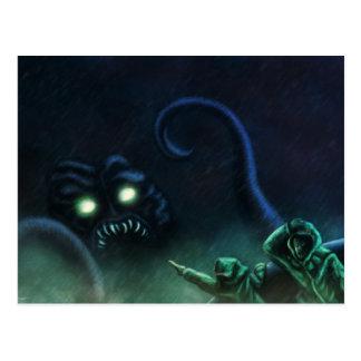 cartão da arte do scifi do seamonster