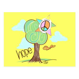 Cartão da árvore da esperança (amarelo)