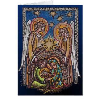 Cartão da cena da natividade do Natal