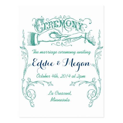 Cartão da cerimónia de casamento vintage cartões postais