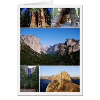 Cartão da colagem do parque nacional de Yosemite