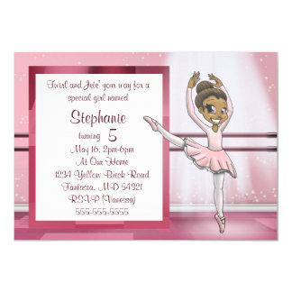 """Cartão Da """"convite"""" 7"""" do aniversário bailarina x 5"""""""