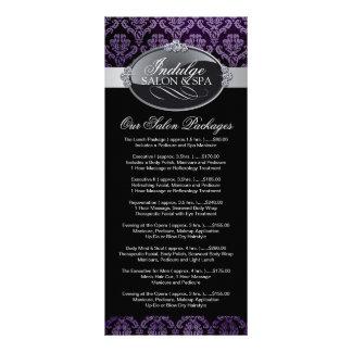 Cartão da cremalheira da tabela de preços do salão panfleto informativo