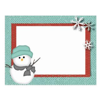 Cartão da estação da neve do boneco de neve do paí cartao postal