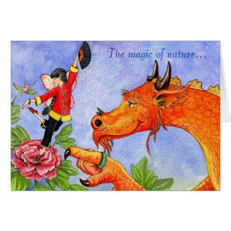 Cartão da fada do dragão e da peônia