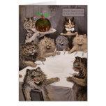Cartão da festa de Natal dos gatos de Louis Wain d