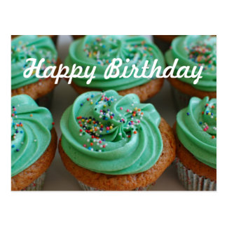 Cartão da foto do aniversário dos cupcakes cartão postal