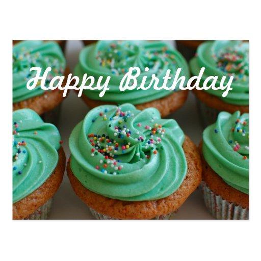Cartão da foto do aniversário dos cupcakes cartões postais