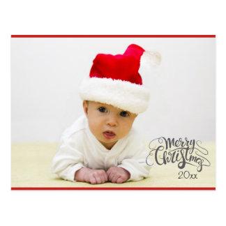 Cartão da foto do feriado do Natal com ano