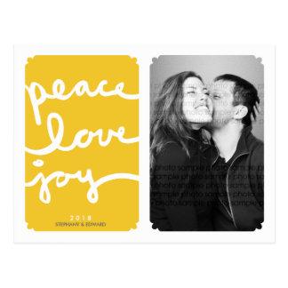 Cartão da foto do Natal do amarelo da alegria do a Cartão Postal