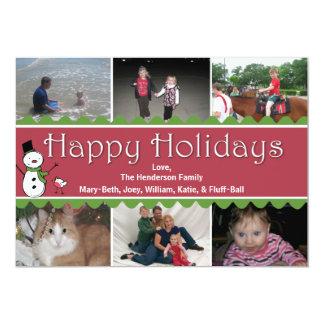 Cartão da foto do Natal festivo multi Convite 12.7 X 17.78cm