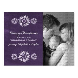Cartão da foto do quadro dos flocos de neve roxo cartoes postais