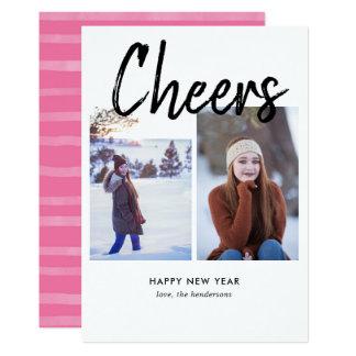 Cartão Da foto escrita à mão da escova dos elogios ano
