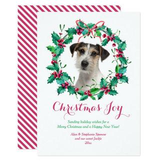 Cartão da grinalda do azevinho do Natal da Convite 12.7 X 17.78cm